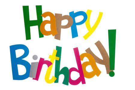 felicitaciones cumpleaÑos: banderas de papel de colores con saludos de cumpleaños de texto multicolor