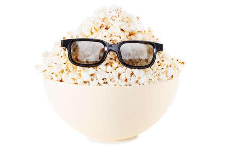 espiga de trigo: Cara completa Sonre�r Monstruo de palomitas de ma�z, gafas. Cine, el p�blico de ver el humor de la comedia. Aislado en blanco