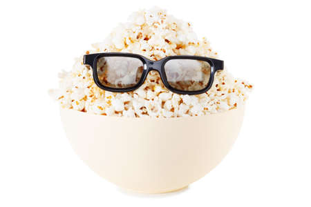 full face: Full face Smiling Monster of popcorn, glasses. Cinema, the audience watching comedy humor. Isolated on white