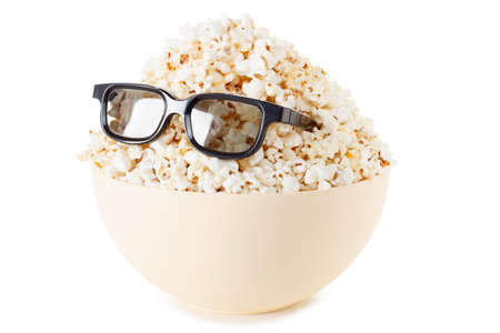 Smiling Monster of popcorn, glasses. Cinema, the audience watching comedy humor. Isolated on white Stock Photo
