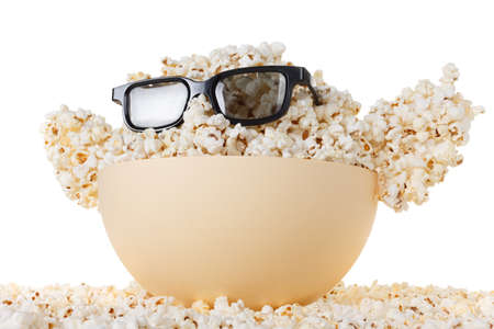 farce: Smiling happy Monster of popcorn, glasses. Cinema, the audience watching comedy humor. Isolated on white