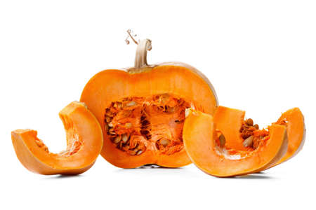 fall harvest: Nice pumpkin. Studio shot  on pure white background