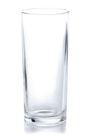 Crystal clear empty glass isolated on white background