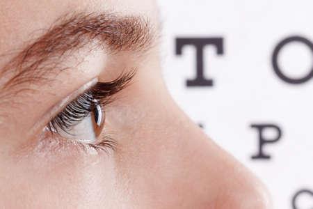 Child an ophthalmologist .Portrait of a boy.  Eye exams. Check Table view. Macro studio shoot profile