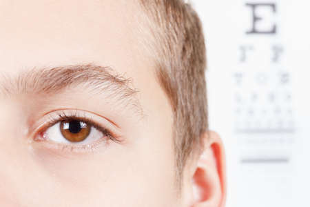 full face: Child an ophthalmologist .Portrait of a boy.  Eye exams. Check Table view. Macro studio shoot full face