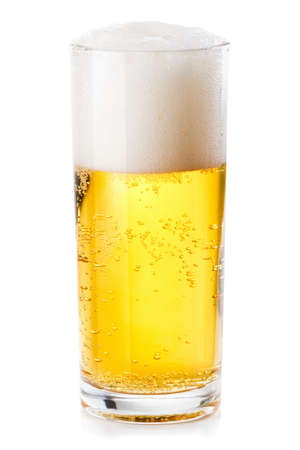 scum: lush white foam in a glass of beer isolated