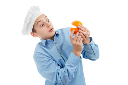 pacman: Portrait of teen Cook, orange pacman. Isolated on white background.