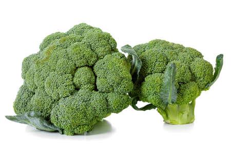 brocoli: A fresh crop of broccoli isolated on white, studio shooting Stock Photo