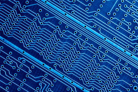 blue computer circuit board close up for background stock photo 45287305
