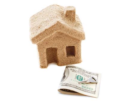 buen trato: S�mbolo de la renta la casa o la venta, el corredor y el comprador. Buena oferta - para la venta o arrendamiento. Aislado en el fondo blanco