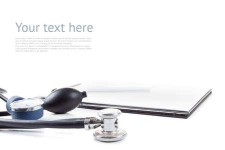 tonometer: Medical elements - stetoscope and tonometer. Isolated on white background Stock Photo