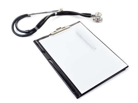 stetoscope: Medical elements - stetoscope. Isolated on white background Stock Photo
