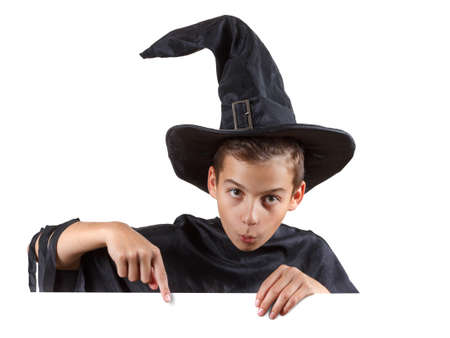 insidious: Young boy in carnival costume wizard. Isolated on white background Stock Photo