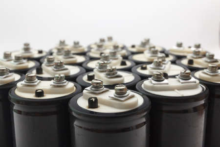electrolytic: Collection Electrolytic capacitor with two black Clem plus and minus. Isolated on white background