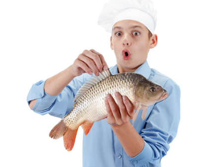 cypriniformes: Young caucasian chef holding a fish carp. Hilarious cooking wholesome food. Isolated on white background