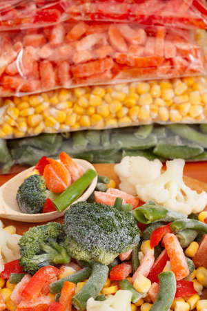 bean bag: Vegetables on cutting board and plastic bags