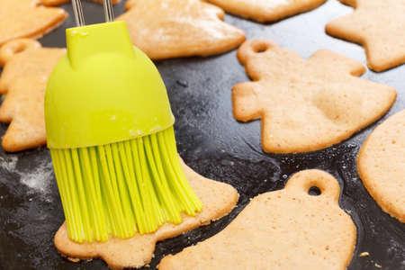 christmas baker's: Making festive gingerbread dough on a baking sheet.. Preparing for Christmas