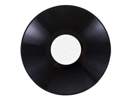 fiche rétro vinyle audio avec des rayures, isolé sur fond blanc. Coal texture gros plan, détail nostalgie. Banque d'images
