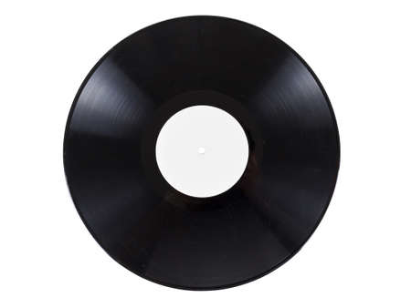 retro vinyl audio record with scratches, isolated on white background. Coal texture closeup, nostalgia details.