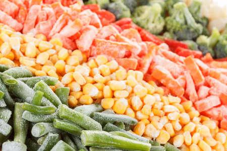 deep freeze: Mixed vegetables background. Deep Freeze for longer storage