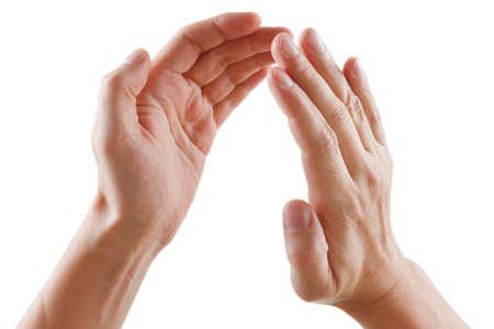 manos aplaudiendo: hermosas manos de los hombres aislados en fondo blanco dando aplausos Foto de archivo