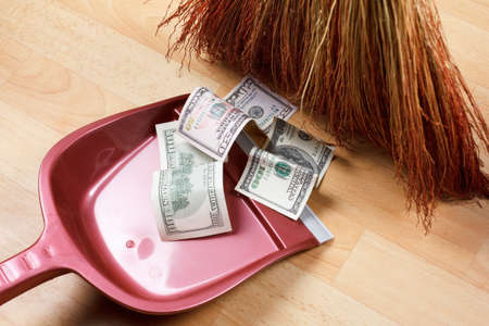 crime: Concept of dirty money, financial problems and crime Stock Photo