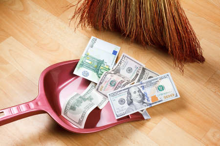 financial problems: Concept of dirty money, financial problems and crime Stock Photo