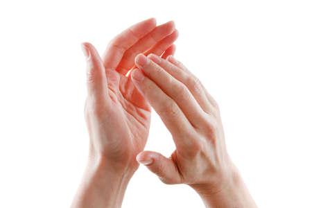 aplaudiendo: mujeres hermosas manos aisladas sobre fondo blanco dando aplausos