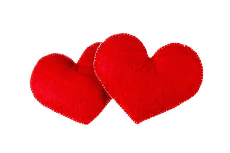 heart symbol: Red hearts isolated on white background. Symbol of love or dating
