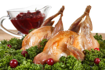 Carcasses of quail roasted with sweet and sour cranberry sauce and parsley on white background