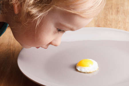 nutrients: Caucasian child looking at a small breakfast omelette Stock Photo