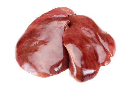 Fresh raw turkey liver. Isolated on white. Cooking food. Imagens