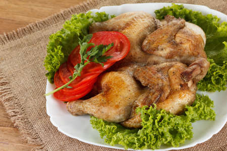 home cooked: Chicken fried with vegetables, traditional home cooked rustic meal Stock Photo