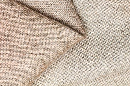 fibrous: Rough burlap, cloth and thread closeup macro Stock Photo
