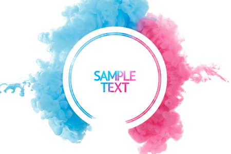 Color paint splash background, liquid cloud ink abstract isolated. Color smoke abstract template design. Ink swirling drop in water isolated on white background. Pink and blue. Stock Photo - 65590046