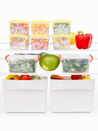 safekeeping: Frozen food in the refrigerator. Vegetables on the freezer shelves. Stocks of meal for the winter.