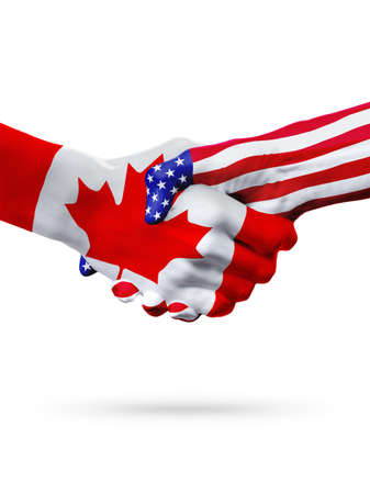 banderas americanas: Flags of United States and Canada countries, handshake cooperation, partnership and friendship or sports competition isolated on white