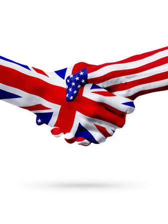 Flags of United Kingdom and United States countries, handshake cooperation, partnership and friendship or sports competition isolated on white