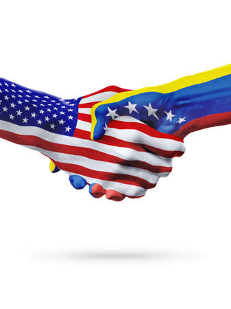 ve: Flags of United States and Venezuela countries, handshake cooperation, partnership and friendship or sports competition isolated on white