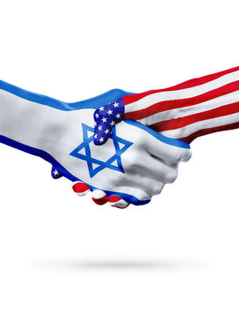 Flags Israel and United States countries, handshake cooperation, partnership and friendship or sports competition isolated on white