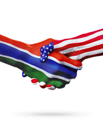 Flags Gambia and United States countries, handshake cooperation, partnership and friendship or sports competition isolated on white