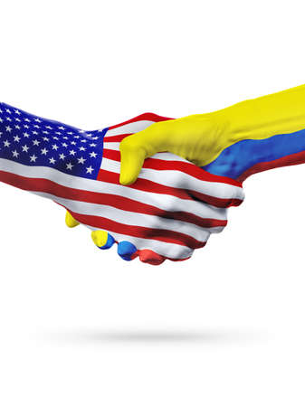 Flags United States and Ecuador countries, handshake cooperation, partnership and friendship or sports competition isolated on white