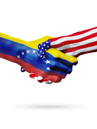 bandera de venezuela: Flags Venezuela and United States countries, handshake cooperation, partnership and friendship or sports competition isolated on white Foto de archivo