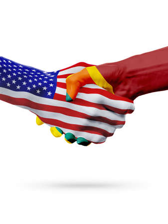 USA and Sri Lanka, countries flags, handshake concept cooperation, partnership, friendship, business deal or sports competition isolated on white
