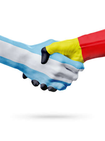 Flags Argentina, Belgium countries, handshake cooperation, partnership, friendship or national sports team competition concept, isolated on white