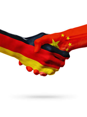 Flags Germany, China countries, handshake cooperation, partnership, friendship or sports team competition concept, isolated on white Stock Photo
