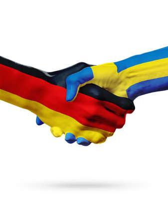 Land-, Händedruckzusammenarbeits-, Partnerschafts-, Freundschafts- oder Sportteamwettbewerbskonzept der Flaggen Deutschland, Schwedens, lokalisiert auf Weiß Standard-Bild - 74651853