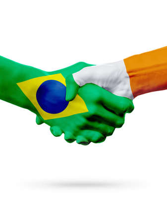 Flags Brazil, Ireland countries, handshake cooperation, partnership, friendship or sports team competition concept, isolated on white