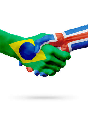 Flags Brazil, Iceland countries, handshake cooperation, partnership, friendship or sports team competition concept, isolated on white Stock Photo