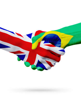great deal: Flags United Kingdom, Brazil countries, handshake cooperation, partnership, friendship or sports team competition concept, isolated on white